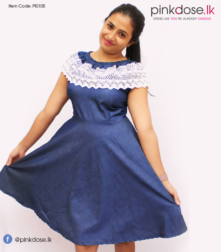 Pink Brand Denim Lace Frill Frock Pi0105