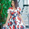 HOT Red Floral Flared Dress (PI0144)
